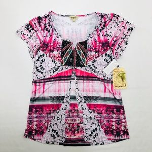 ONE WORLD Top Short Sleeve Embroidered Stretch Jer